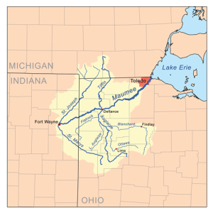 """""""Maumeerivermap"""" by Kmusser - Self-made, based on USGS data.. Licensed under Creative Commons Attribution-Share Alike 2.5 via Wikimedia Commons - http://commons.wikimedia.org/wiki/File:Maumeerivermap.png#mediaviewer/File:Maumeerivermap.png"""