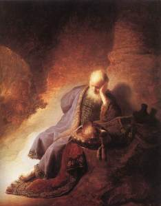 Jeremiah Lamenting the Destruction of Jerusalem --Rembrandt