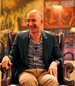 By Steve Jurvetson (Flickr: Bezos' Iconic Laugh) [CC-BY-2.0 (http://creativecommons.org/licenses/by/2.0)], via Wikimedia Commons