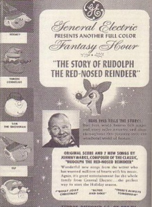 An advertisement for the original NBC airing of Videocraft's Rudolph the Red-Nosed Reindeer, promoted as a General Electric Fantasy Hour.