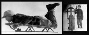 """""""Boy on snow sled, 1945"""" by Father of JGKlein, used with permission - Father of JGKlein, used with permission. Licensed under Public Domain via Wikimedia Commons - http://commons.wikimedia.org/wiki/File:Boy_on_snow_sled,_1945.jpg#mediaviewer/File:Boy_on_snow_sled,_1945.jpg"""