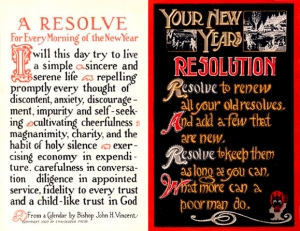 "New Year's Resolutions from 100 years ago. ""Postcards2CardsNewYearsResolution1915"" by not known; one on left is published by ""Chatauqua Press"", as stated near the bottom of the card in tiny type - eBay store Web page: http://cgi.ebay.com/2-New-Year-Resolution-Cards_W0QQitemZ260340642174QQcmdZViewItemQQptZLH_DefaultDomain_0?hash=item260340642174&_trksid=p3286.c0.m14&_trkparms=66%3A4%7C65%3A1%7C39%3A1%7C240%3A1318. Licensed under Public Domain via Wikimedia Commons - http://commons.wikimedia.org/wiki/File:Postcards2CardsNewYearsResolution1915.jpg#mediaviewer/File:Postcards2CardsNewYearsResolution1915.jpg"