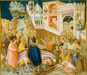 "Entry Into Jerusalem by Pietro Lorenzetti, 1320.Assisi-frescoes-entry-into-jerusalem-pietro lorenzetti"" by Pietro lorenzetti - http://www.aiwaz.net/panopticon/lorenzetti-pietro/gc58p0. Licensed under Public Domain via Wikimedia Commons."