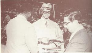 Receiving my diploma from Mr Maluso, Chaney H.S. Principal. (Photo scanned from 1972 Lariat, photographer unknown)