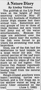 A Nature Diary -- June 1, 1960