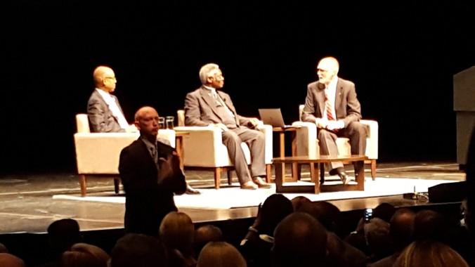 OSU President Michael Drake, Cardinal Peter Turkson, and Dean Bruce McPheron