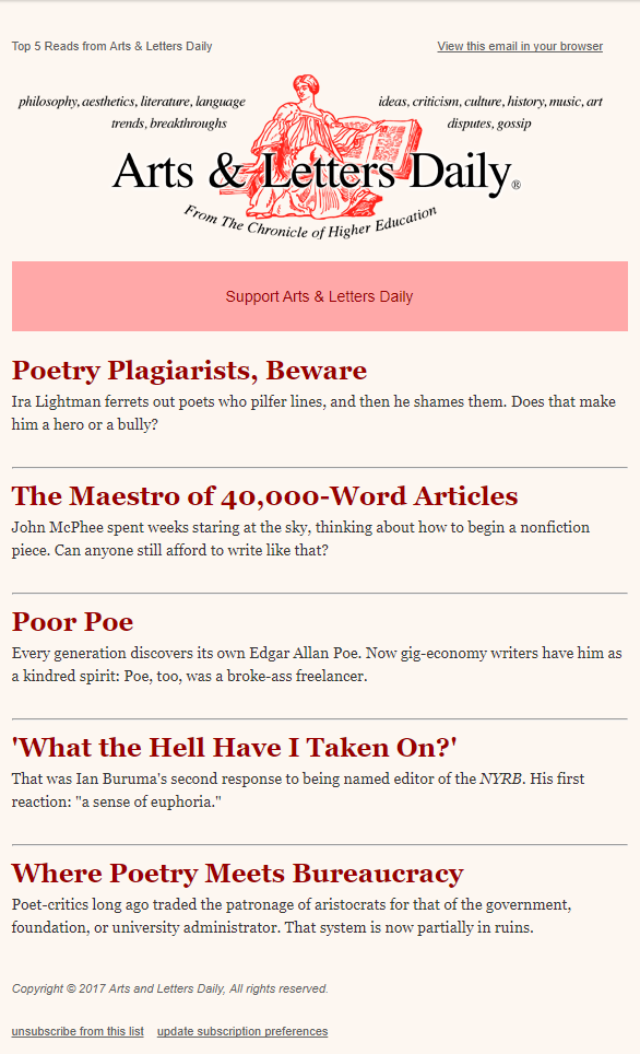 Top Reads From Arts Letters Daily