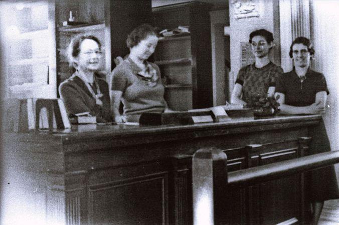 1930's_-_ca._-_Alma_Custead,_Librarian,_and_Staff