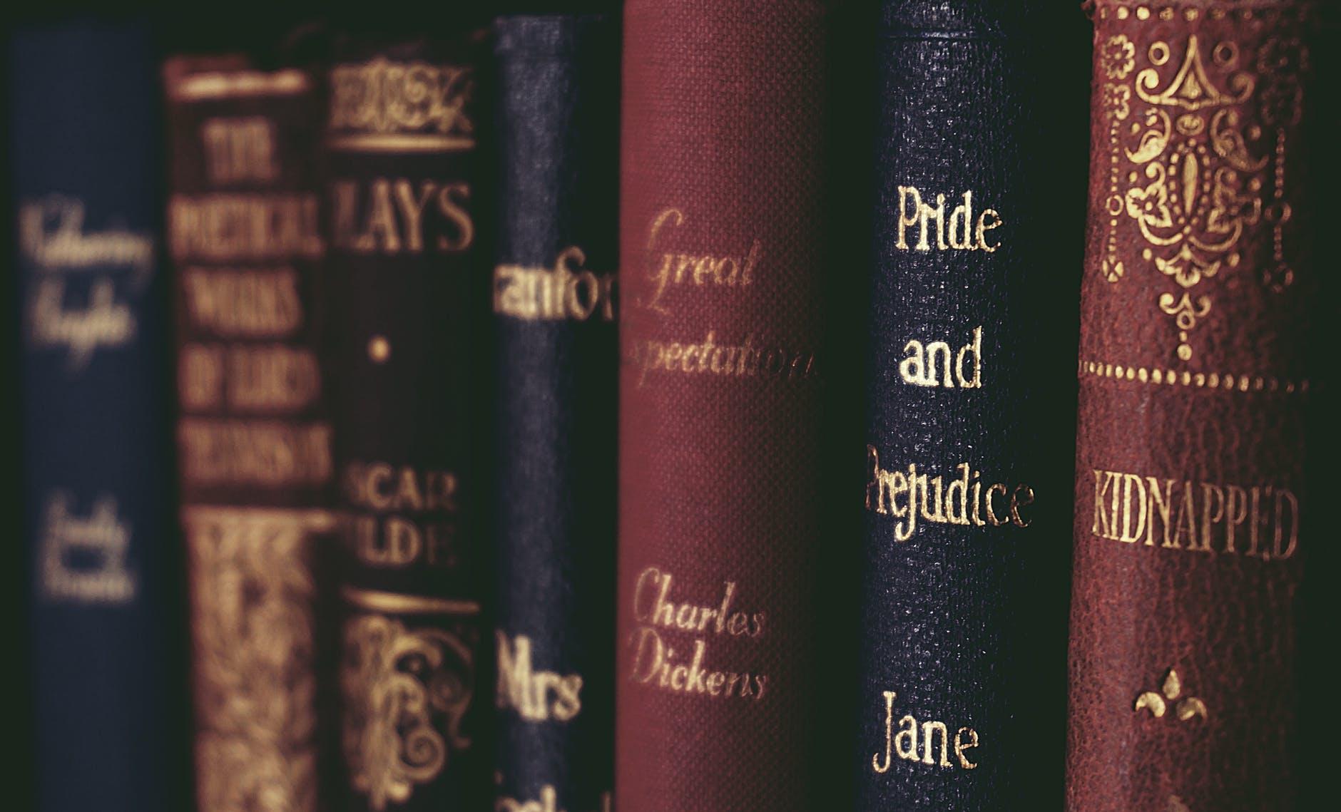 close up of books on shelf